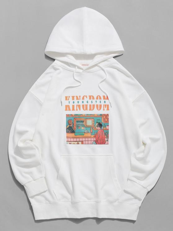 buy Youngster Graphic Pouch Pocket Casual Hoodie - WHITE 3XL