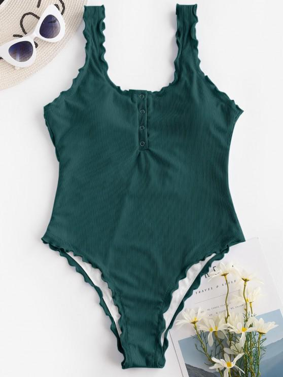 ZAFUL Ribbed Snap Button Backless One-piece Swimsuit - ديب غرين S
