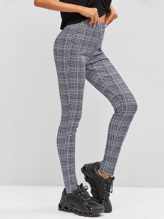 womens Plaid Skinny Pants - BLACK L