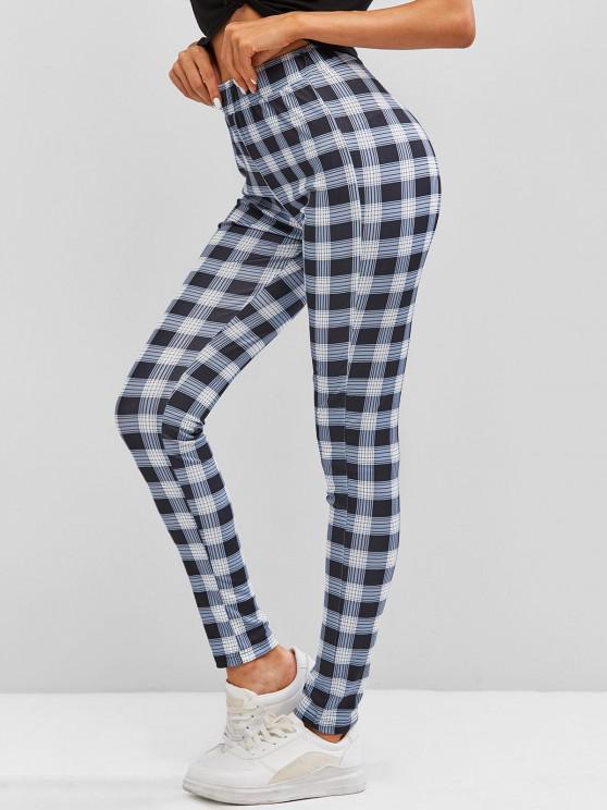 affordable Plaid Skinny Pants - DARK GRAY L