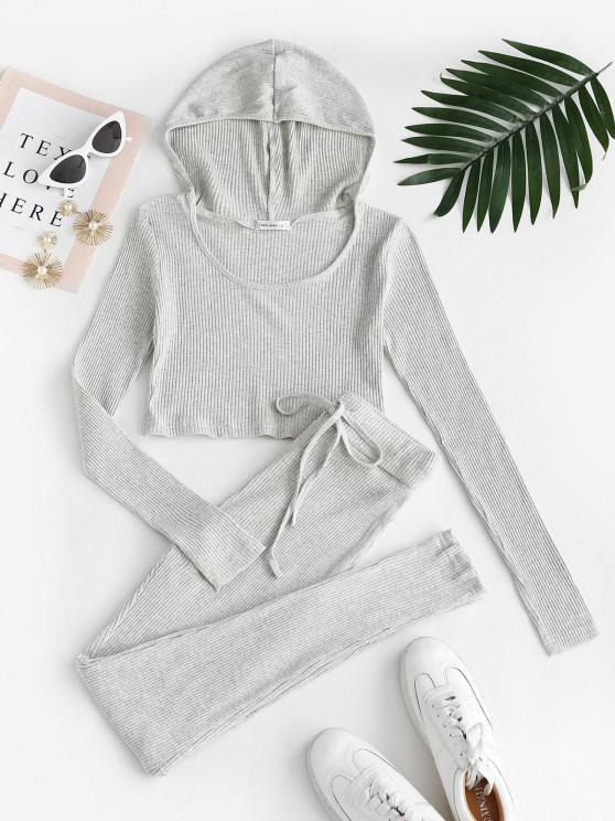affordable Ribbed Hooded Drawstring Skinny Pants Set - LIGHT GRAY M