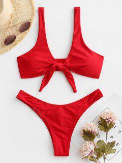 Bikini De Tanga Anudado Con Pliegues - Rojo M