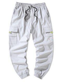 Letter Embroidery Flap Pocket Cargo Pants - Light Gray 4xl