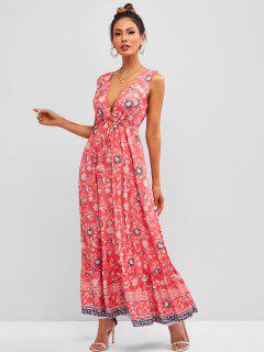 Ditsy Floral Tied Ruffle Hem Sleeveless Maxi Dress - Light Pink S