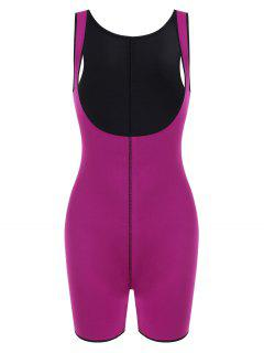 Open Bust Topstitching Slimming Corset Bodysuit Shaper - Purple L