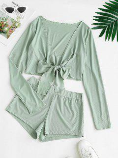 Ribbed Tie Front Two Piece Shorts Set - Light Green M