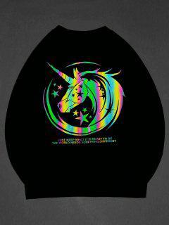ZAFUL Luminous Unicorn Print Graphic Sweatshirt - Black 2xl