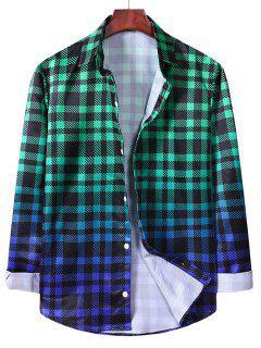 Ombre Checkered Pattern Long Sleeve Shirt - Medium Sea Green 2xl