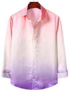 Ombre Print Long Sleeve Casual Shirt - Flamingo Pink 2xl