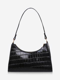 Textured Patent Leather Shoulder Bag - Black