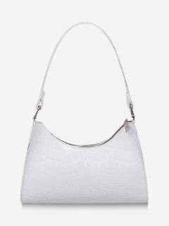 Sac à Bandoulière En Cuir Verni Texturé - Blanc