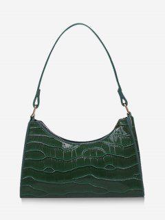 Textured Patent Leather Shoulder Bag - Deep Green