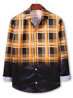 Plaid Ombre Print Button Up Shirt - Bee Yellow Xl