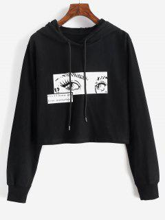 Pop Art Eye Print Drawstring Crop Hoodie - Black M