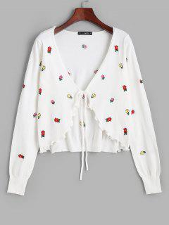 Tie Front Ditsy Floral Embroidered Cardigan - White