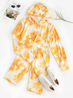 Cycling Tie Dye Two Piece Shorts Set - Yellow M