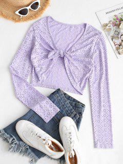 Eyelet Tie Front Crop Blouse - Light Purple M