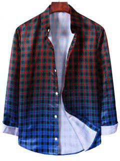 Button Up Ombre Plaid Print Long Sleeve Shirt - Black M