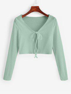 Ribbed Tie Front Cropped Tee - Light Green S