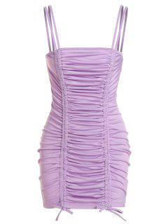ZAFUL Cinched Mini Bodycon Dress - Light Purple S