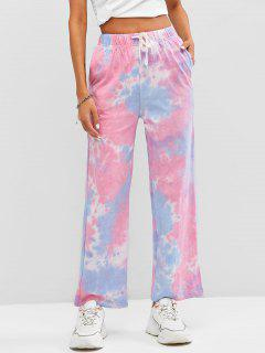Drawstring Wide Leg Tie Dye Pants - Multi-a