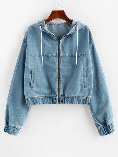 ZAFUL Drawstring Hooded Denim Jacket - Blue S