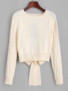 Cut Out Tie Back Cable Knit Sweater - Light Coffee
