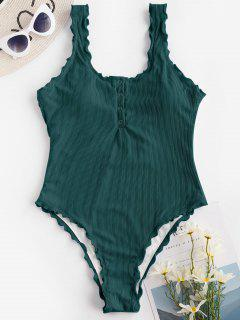 ZAFUL Ribbed Snap Button Backless One-piece Swimsuit - Deep Green L