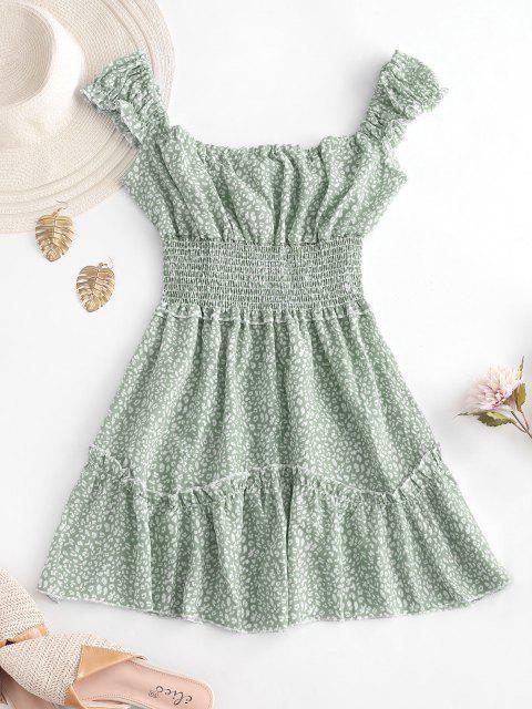 Gedruktes Ärmelloses Eine Linien Kittel Kleid - Grün XS Mobile