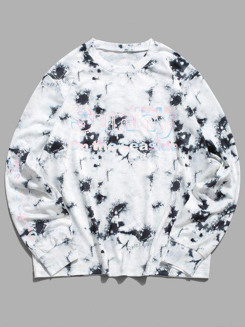 womens ZAFUL Tie Dye Sunny Graphic Lounge Crew Neck Sweatshirt - MULTI L Mobile