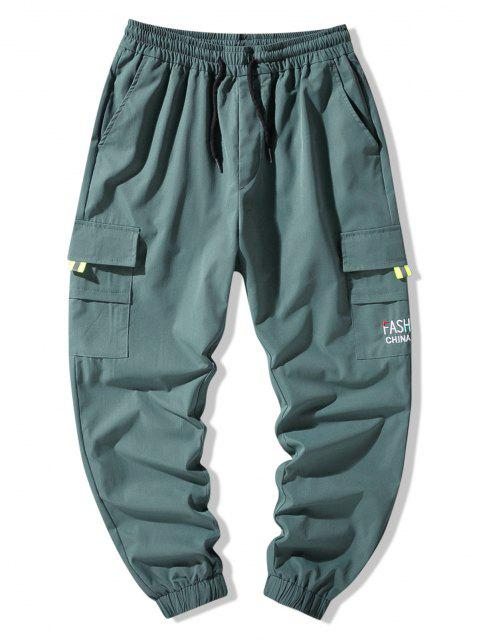 Pantalon Cargo Lettre Brodée avec Poche à Rabat - Turquoise Foncée 2XL Mobile