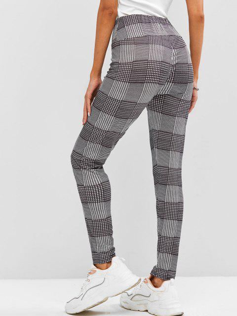 outfits High Waisted Plaid Leggings - BLACK XL Mobile