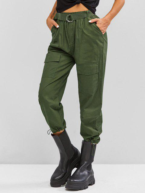 lady Boyish Pockets Buckle Belted Toggle Drawstring Cargo Pants - DEEP GREEN S Mobile
