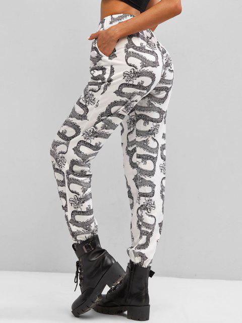 new Oriental Dragon Print High Rise Jogger Pants - BLACK M Mobile