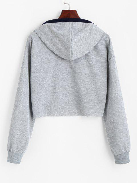 online Raw Hem Cropped Stripes Panel Hoodie - LIGHT GRAY XL Mobile