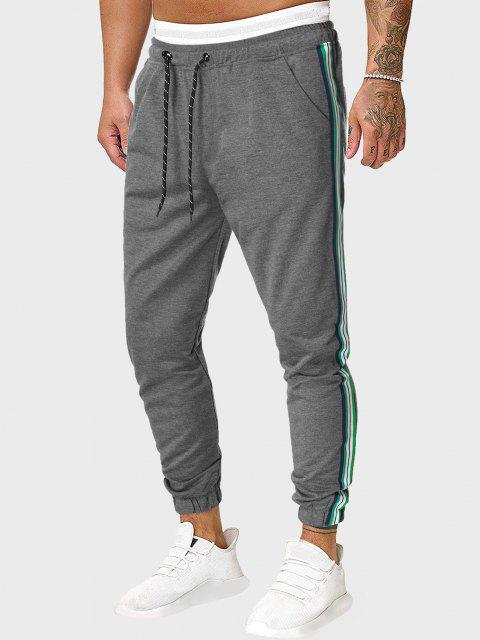 women's Drawstring Side Striped Sports Pants - GRAY 2XL Mobile