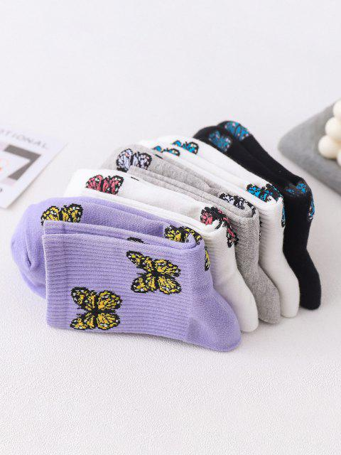 lady 5 Pairs Butterfly Print Cotton Micro Crew Socks Set - MULTI-A  Mobile