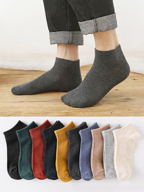 sale 10 Pairs Solid Sports Socks Set - MULTI-A  Mobile