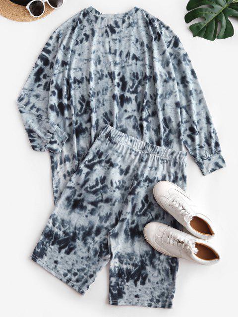 lady Tie Dye Drop Shoulder Biker Shorts Set - GRAY S Mobile