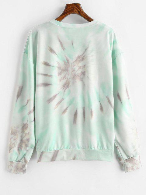 Drop Shoulder Pullover Tie Dye Sweatshirt - متعددة-B L Mobile