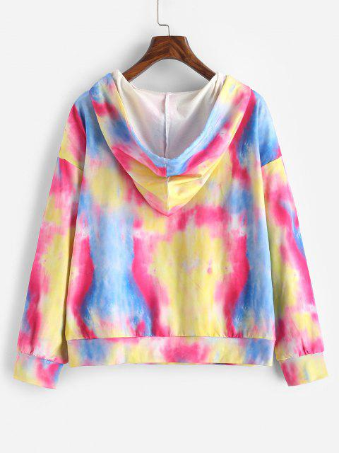 online Tie Dye Butterfly Graphic Front Pocket Hoodie - MULTI S Mobile