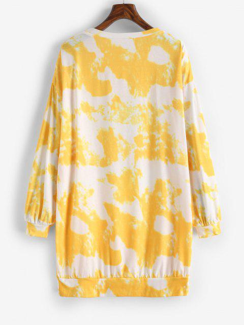 fancy Tie Dye Moon and Sun Drop Shoulder Sweatshirt Dress - YELLOW M Mobile