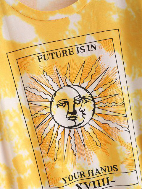 hot Tie Dye Moon and Sun Drop Shoulder Sweatshirt Dress - YELLOW S Mobile