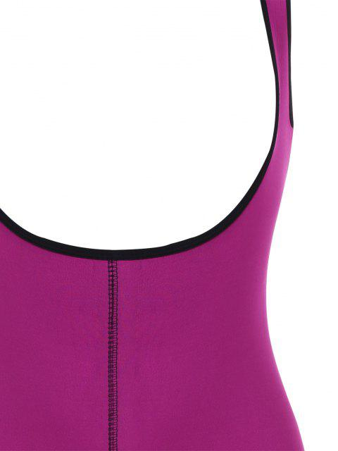 online Open Bust Topstitching Slimming Corset Bodysuit Shaper - PURPLE XL Mobile