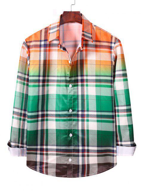 オンブルチェック柄長袖カジュアルシャツ - マカオブルーグリーン S Mobile