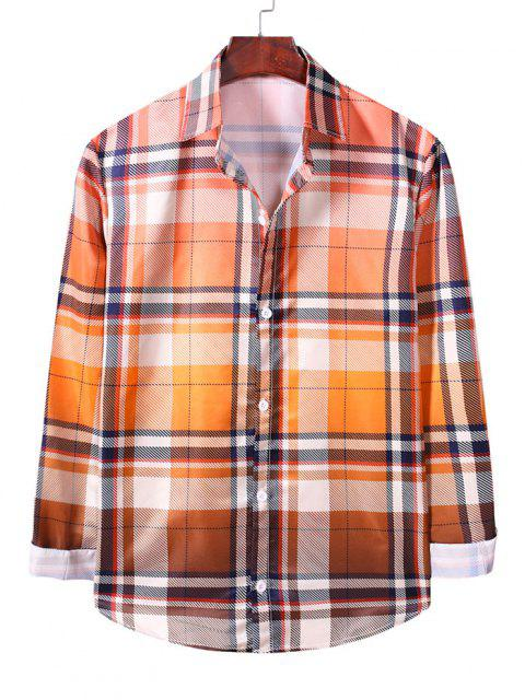 womens Ombre Plaid Long Sleeve Casual Shirt - SANDY BROWN 2XL Mobile