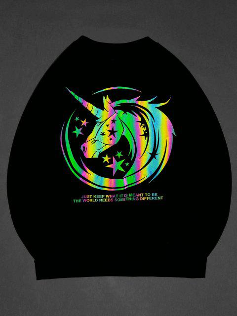 affordable ZAFUL Luminous Unicorn Print Graphic Sweatshirt - BLACK S Mobile