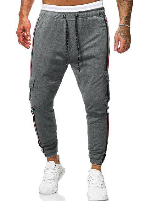 Pantalones Casual Rayado Bolsillos Laterales - Gris Oscuro 2XL Mobile