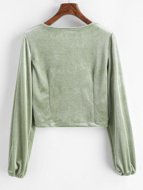 ladies Crushed Velvet Long Sleeve Top - LIGHT GREEN M Mobile