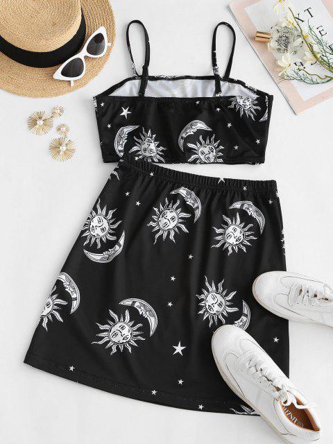 best Sun Star Moon Print Two Piece Dress - BLACK XL Mobile